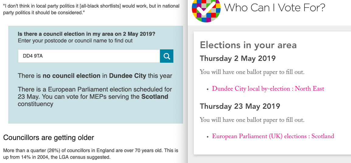 BBC widget says the user doesn't have an election; WhoCanIVoteFor shows they do