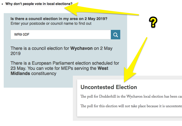Comparison of BBC widget and WhoCanIVoteFor, BBC says there's an election, WhoCanIVoteFor says the election is uncontested