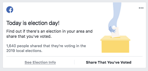 Facebook newsfeed 2019 link to WhereDoIVote.co.uk