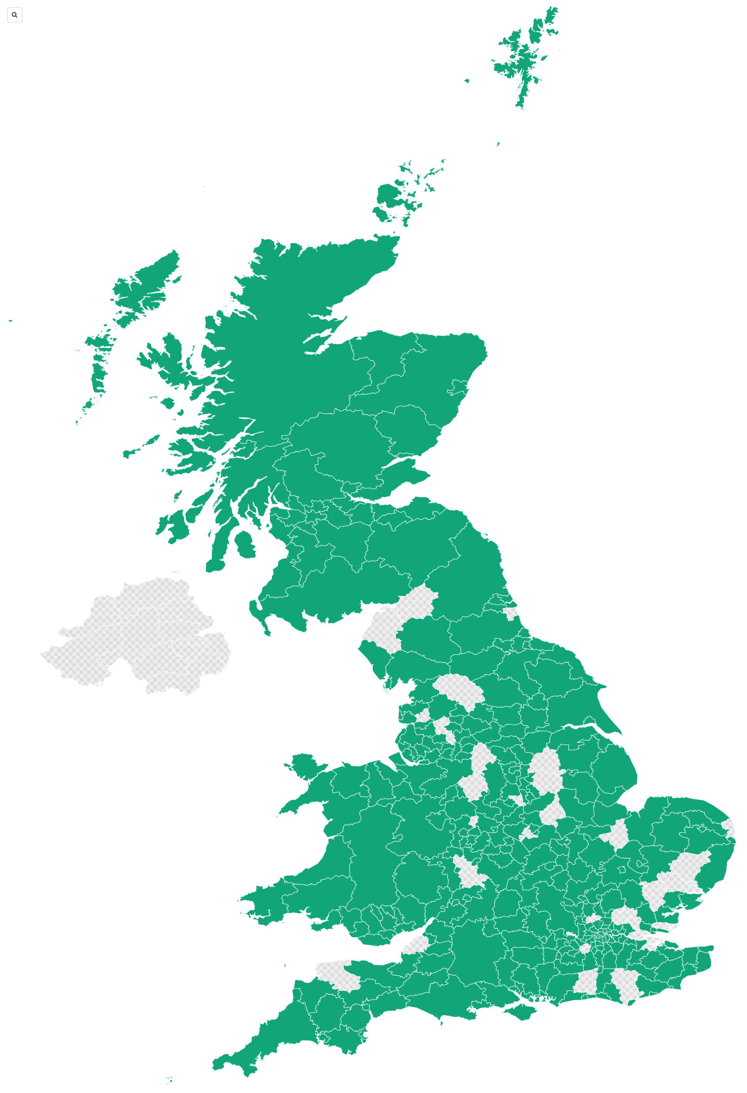 Map of council areas covered by the polling station finder on  election day